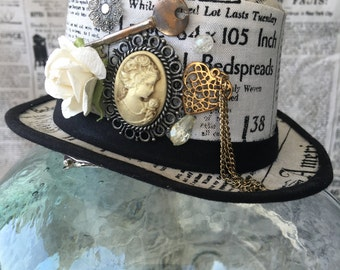 Steampunk Mini Top Hat Fascinator - Newsprint with Cameo & Embellishments