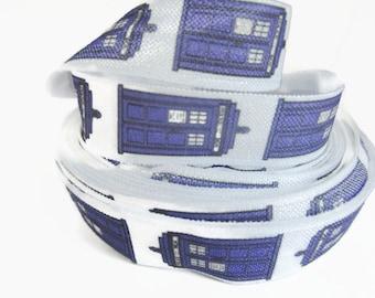 "Phone Booth Fold Over Elastic, FOE, Fold over Elastic by the Yard, Fabric, DIY Hair Ties and Headbands, 5/8"""