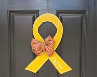 Wooden Childhood Cancer Door Hang