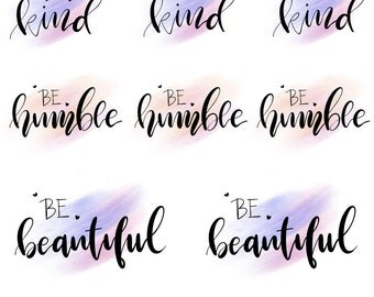 Hand lettered stickers - BE Collection - BE1601