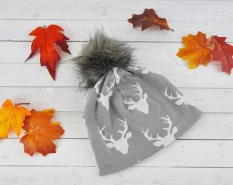 Fur Pom Pom Hat - Slouchy Beanie - Toddler Slouchy Beanie - Slouchy Beanie Baby - Faux Fur Pom Pom - Kids Beanie - Womens Beanie -Deer Hat