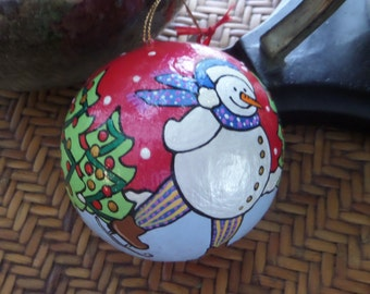 Ice Skating Snowman Christmas Ornament