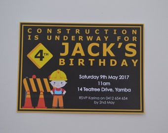 Pack of 10 ~ Construction themed personalised invitations