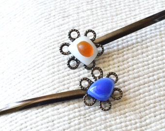 Glass Bobby Pins, Unique Hair Pins,Handmade Hair pins,Blue Bobby Pin,Gift For Her,Amber,White, Simple pin,Filigrees bobby pins,Accent clip.