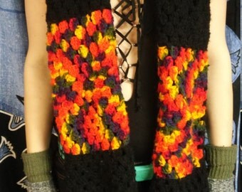 Rainbow Acrylic Fall Crocheted Scarf