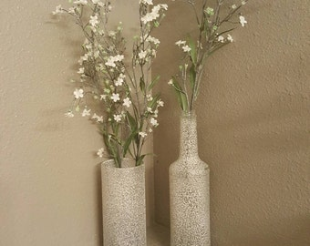 Glass bottle, Vase, Decor, Wedding, spray painted, up-cycled