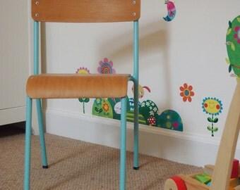 Vintage Children's School Chair, Old School Chair, Handpainted Chair, Child's Chair, Kid's Chair, Vintage Chair, Retro Chair, Upcycled Chair