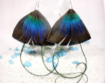 """Earrings feathers """"dark blue"""""""