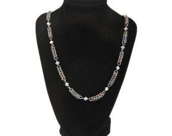 Anodized Titanium Box Necklace with Swarovski Crystals
