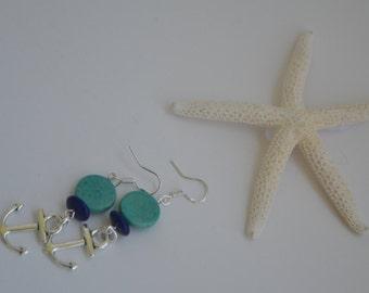 Turquoise and navy nautical dangle earrings
