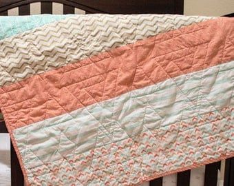 Baby Quilt - Baby Girl Quilt - Coral Baby Quilt - Aqua Baby Quilt - Gold Baby Quilt - Chevron Baby Quilt - Arrow Baby Quilt - Cute Baby