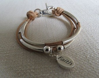 4 Strand Bracelet - tan leather, Sterling Silver tube beads and a little faith