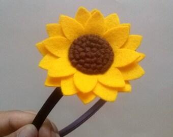 Sunflower headband, Yellow flower headband, Women hair accessory, Adult Headband for women, Wool felt flower hair accessories for women
