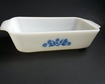 Vintage Fire King Loaf Pan with Blue Floral , Anchor Hocking Baking Bakeware Mid Century  -  B5