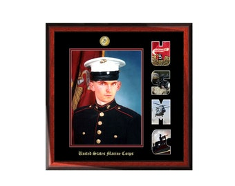 USMC Picture Frame with Marine Corps Collage Letter Military Wall Photo Plaque Soldier Officer Promotion Retirement Present Product MF1