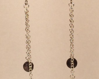 Pink and Purple Drop Earrings with Silver Plated Chain