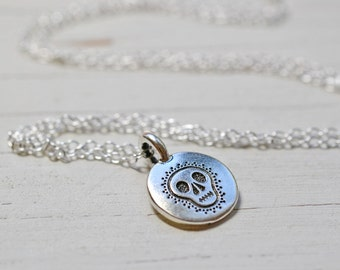Silver Skull Necklace, Day of the Dead Charm Meditation Yoga Jewelry, Sterling Silver Chain Sugar Skull Spiritual Jewelry
