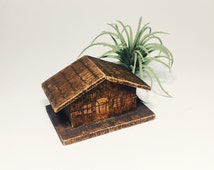 Vintage Cabin House Box. Rustic Wood Jewelry Holder. Wedding Engagement Ring Case.
