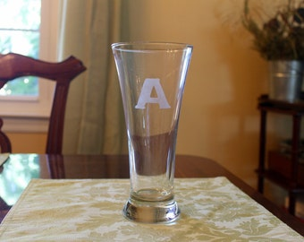 Monogram/Letter Initial Etched Personalized Tall Beer Glass