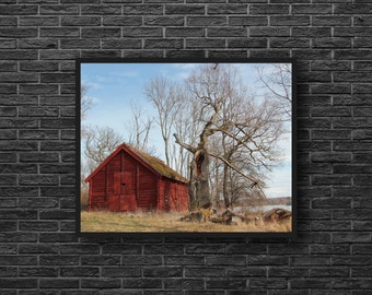 Red Barn Photography - Old Barn Print - Ruin Barn Photo - Abandoned House Photo - Old House Print - Wooden House - Abandoned Wall Decor
