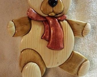 Teddy Bear Wood Wall Hanging - Intarsia