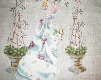 Rose Arbor- Mirabilia-Completed Cross Stitch