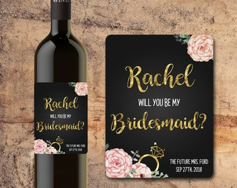 Will You Be My BRIDESMAID WINE BOTTLE Label Floral Faux Gold with Flowers Gift, Invite, Favor