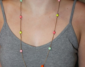 Colorful Knotted Long Necklace