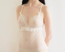 Ivory Polka Dot Mesh Bodysuit Bridal Teddy. Pin Up Vintage Style Lingerie. Lace Body Valentines Gift Handmade to Order