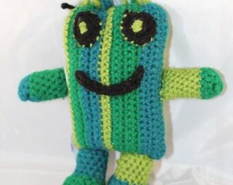 Crocheted Monster - Green Striped