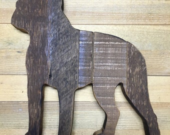 Barn wood dog- Boston Terrier