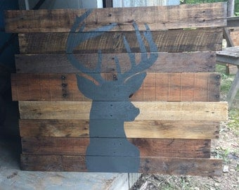 Buck Silhouette - Deer Head Handpainted Reclaimed Wood