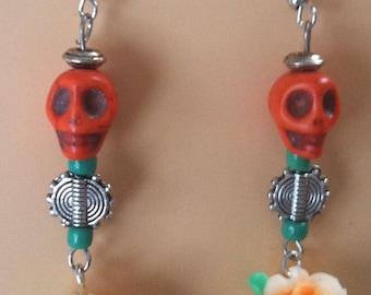 Day of the Dead  (Dia de los Muertos) Skull and Flower Earrings