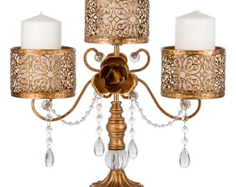 Antique 3 pillar candle holder in gold