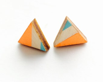Triangle Hand Painted Wood Earrings