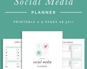 Social Media Planner - INSTANT DOWNLOAD - Printable PDF - 9 Pages// Facebook, Twitter, Instagram, Pinterest
