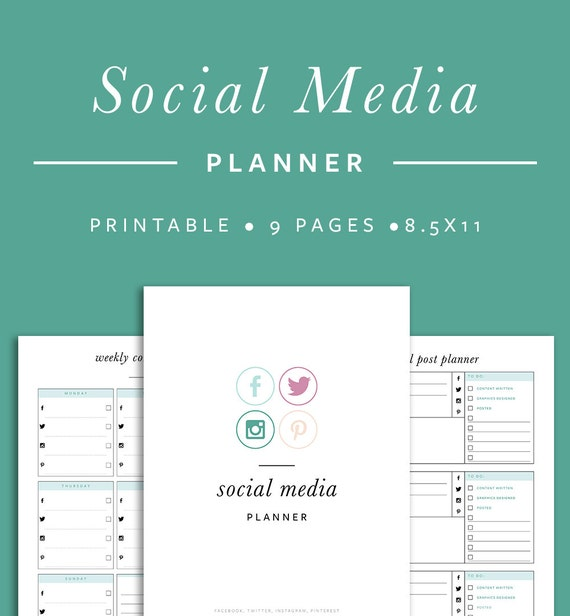 Social Media Planner INSTANT DOWNLOAD Printable PDF 9