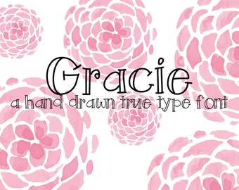 Instant Digital Font Download Handwritten Font Gracie True Type Font ttf Graphic Design Personal Use Scrapbooking Photoshop Illustrator
