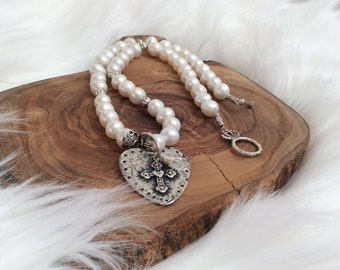 Pearl Necklace with Heart Charm