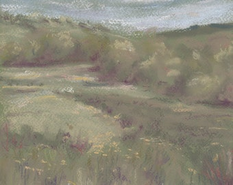 Kingcombe, Dorset PRINT from an original soft pastel drawing. Landscape Spring Summer Green Meadow Field Trees Woodland Sky Flowers Wall Art