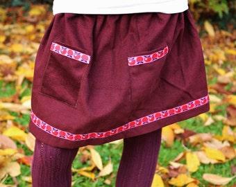 "Skirt ""Patti"" (T.6ans) - Burgundy corduroy - Ribbon motif Apple-retro/vintage look - O.CAROL"