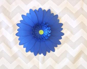 "Royal Blue giant paper flower Gerbera Daisy wedding photo backdrop floral background newlywed housewarming gift idea bridal party decor 8"""