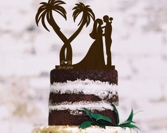 Wedding Cake Topper  Palm  Cake Topper  Bride Groom Silhouette Cake Topper Rustic Wedding Cake Topper Silhouette Cake Topper