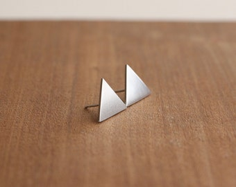 Large Triangle Stud Earrings, Silver Triangle Earrings, Geometric Studs, Simple Triangle Earrings