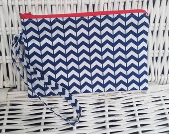 Blue and white chevron wristlet with zipper