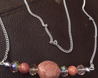 Rhodolite And Crystal Necklace