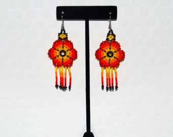 Orange & Yellow Beaded Floral Earrings