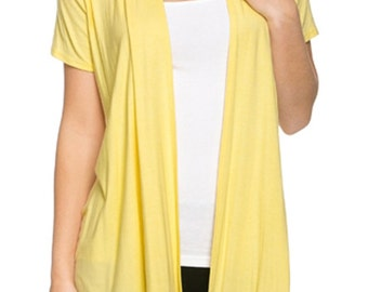 Short Sleeve Open Front Vest Yellow
