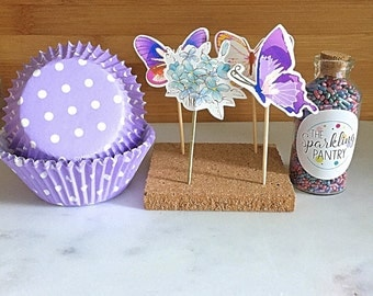 Butterfly Cupcake Kit with Sprinkles, Liners and Toppers, Decorating Kit (24)