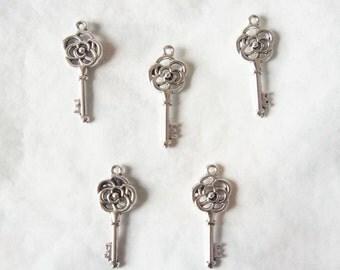 Silver Tone Key Charms